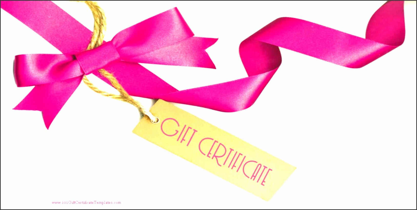 t certificate with a white background and a pink ribbon with a light brown paper tag