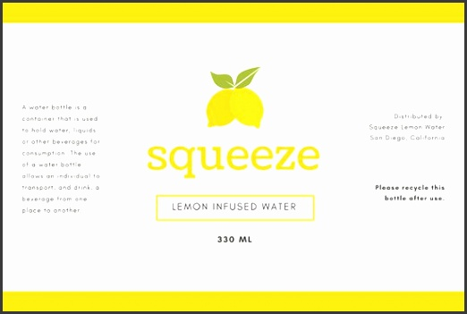 White with Yellow Lemons Water Bottle Label