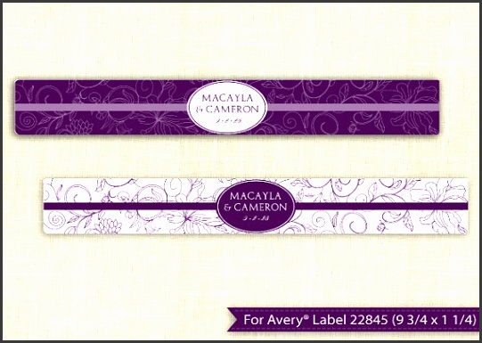 DOWNLOADABLE Water Bottle Label Template for Avery 9 3 4 x 1 1 4 EDITABLE TEXT Vintage Bouquet Plum Microsoft Word