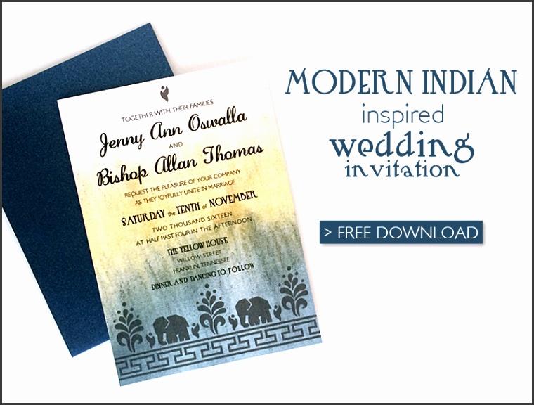 Free Modern Indian Wedding Invitation printable template