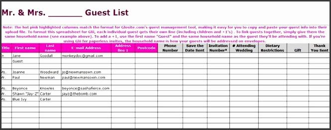 Printable Wedding Guest List Template 04