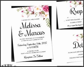 Wedding Invitation Template Set Floral Boho Wedding Invite Printable Invitation Easy to Edit