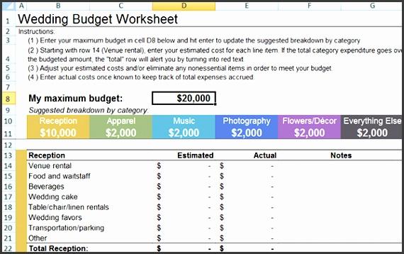 Wedding Bud Worksheet Little Wedding Guide Wedding Bud Excel Spreadsheet