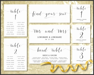 Wedding seating chart template Wedding seating cards Minimalist Modern Seating plan template Black script font Table