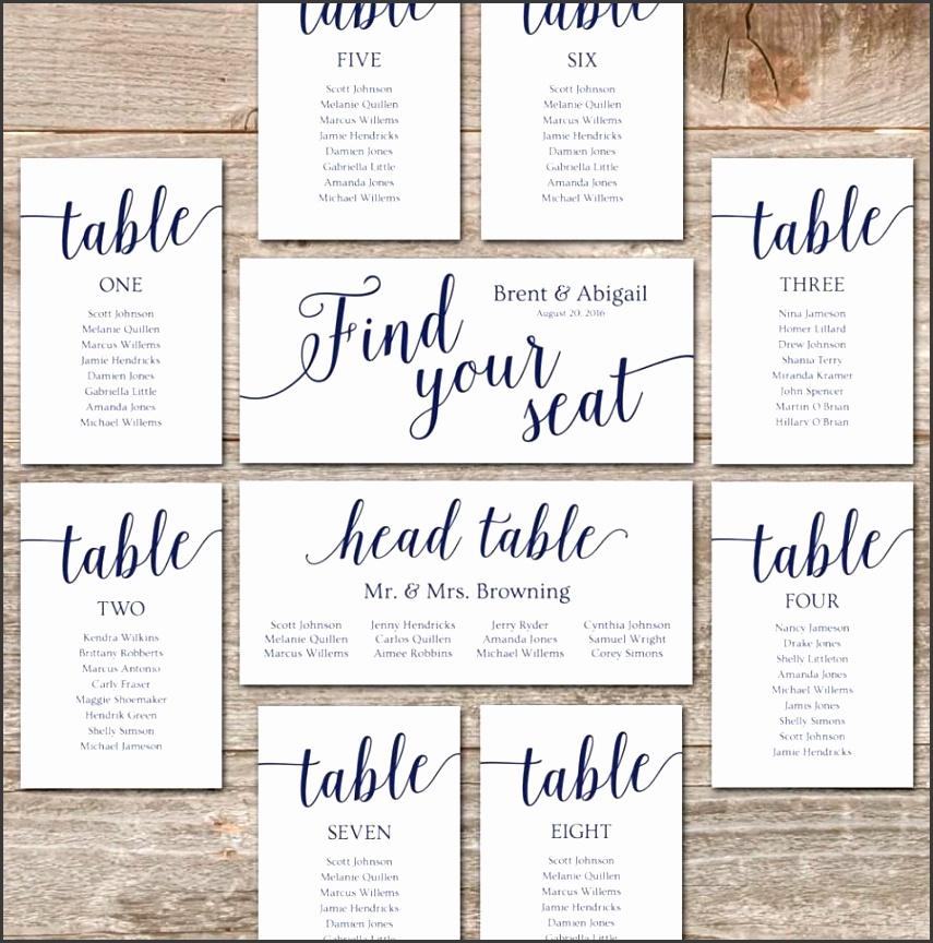 Wedding Seating Chart Template DIY Seating Cards Editable Seating Chart Printable Navy Wedding Decor