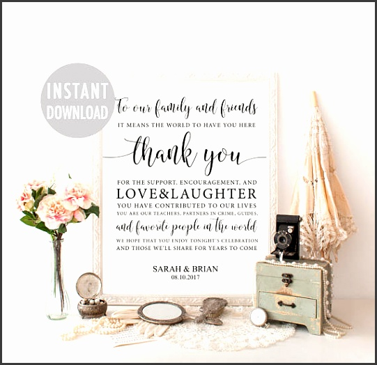 Wedding Thank You Sign Template Thank You Card Sign Guest Thank You Thank You Poster Reception Signage Printable Thank You Wedding Day