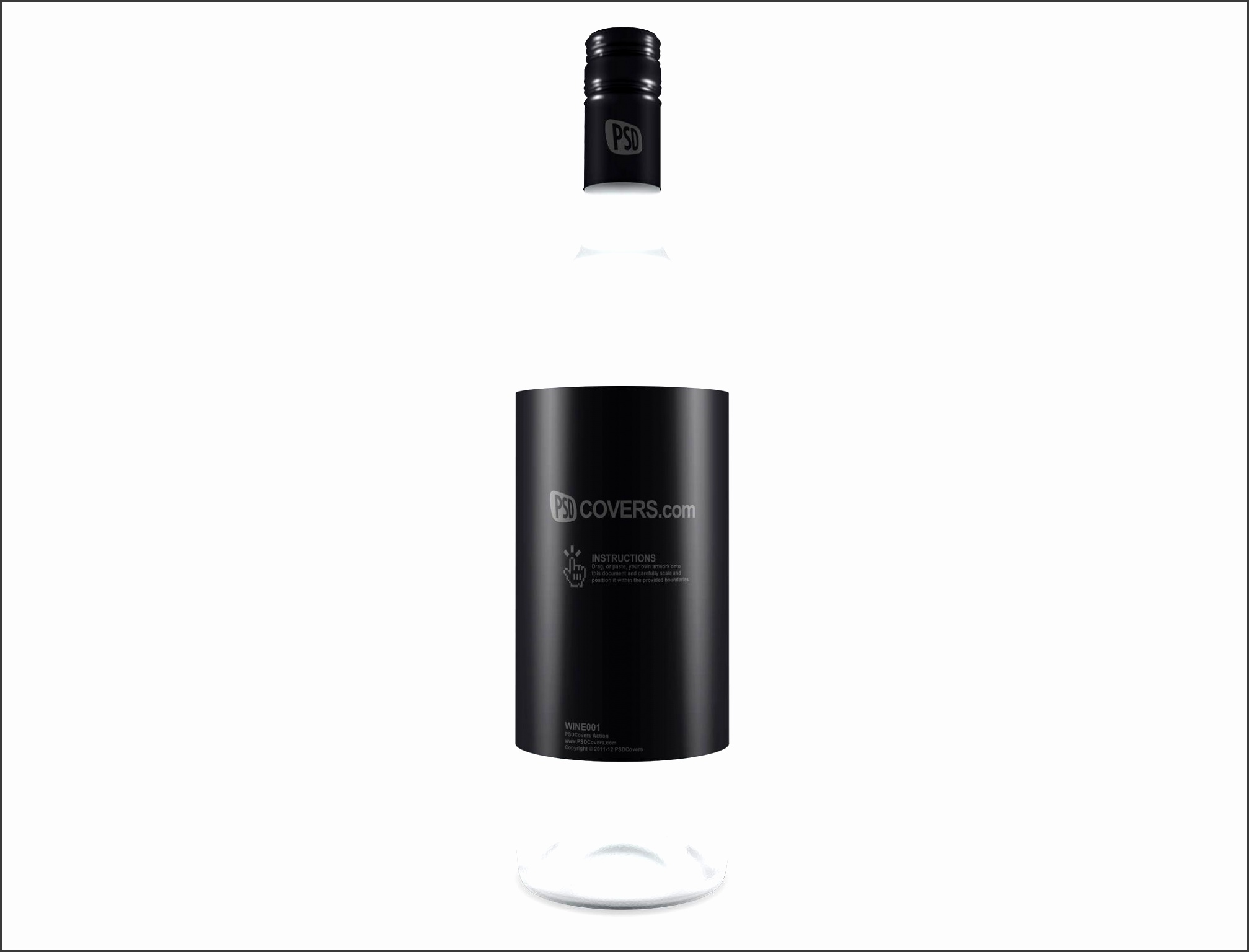 WINE001 is a 1L wine bottle facing directly forward This PSD Mockup Cover Action bottle
