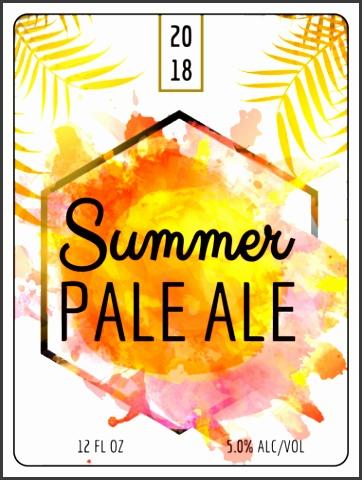 """OL500 4"""" x 3"""" Tropical Summer Beer Bottle Label"""