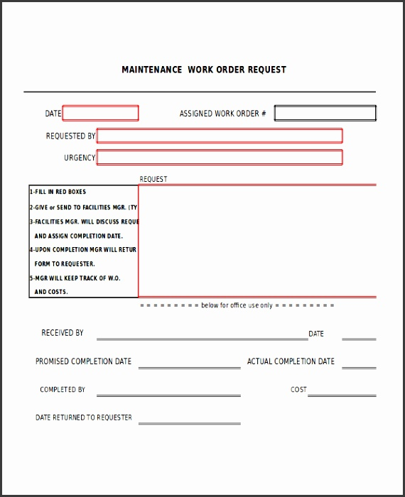 excel work order template 9 free excel document s maintenance work order template excel 1