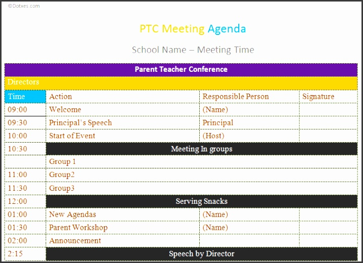 Use PTC meeting agenda template to make your munications better between parents and educators