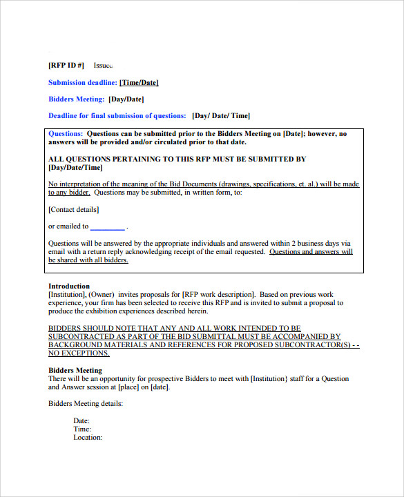 Free 13 Sample Bid Proposal Templates In Pdf Ms Word Excel Pages