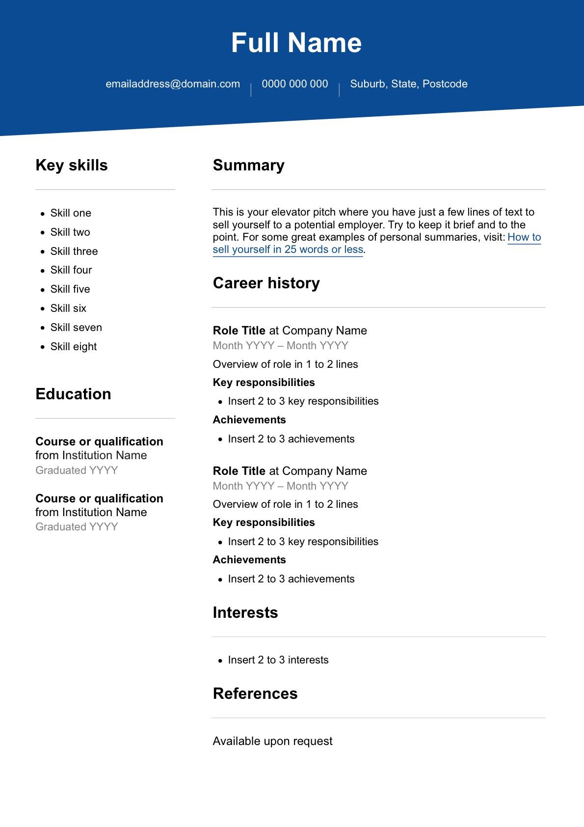 Free Resume Template Seek Career Advice