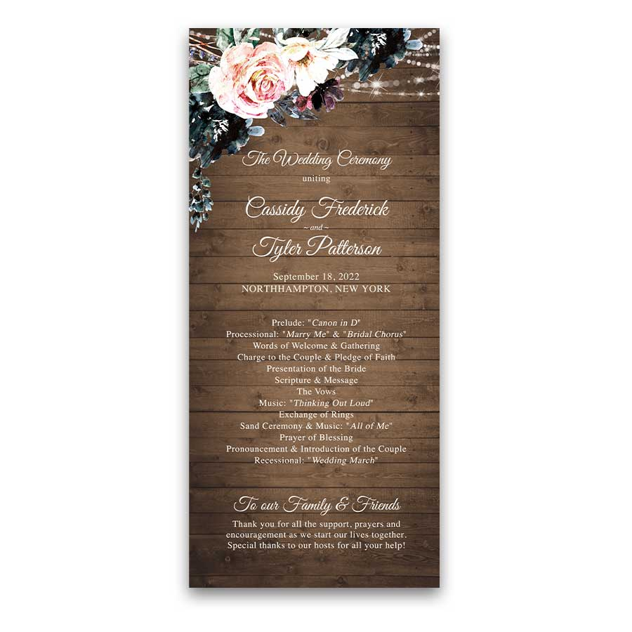 Rustic Wedding Program Template With Watercolor Garden Blooms