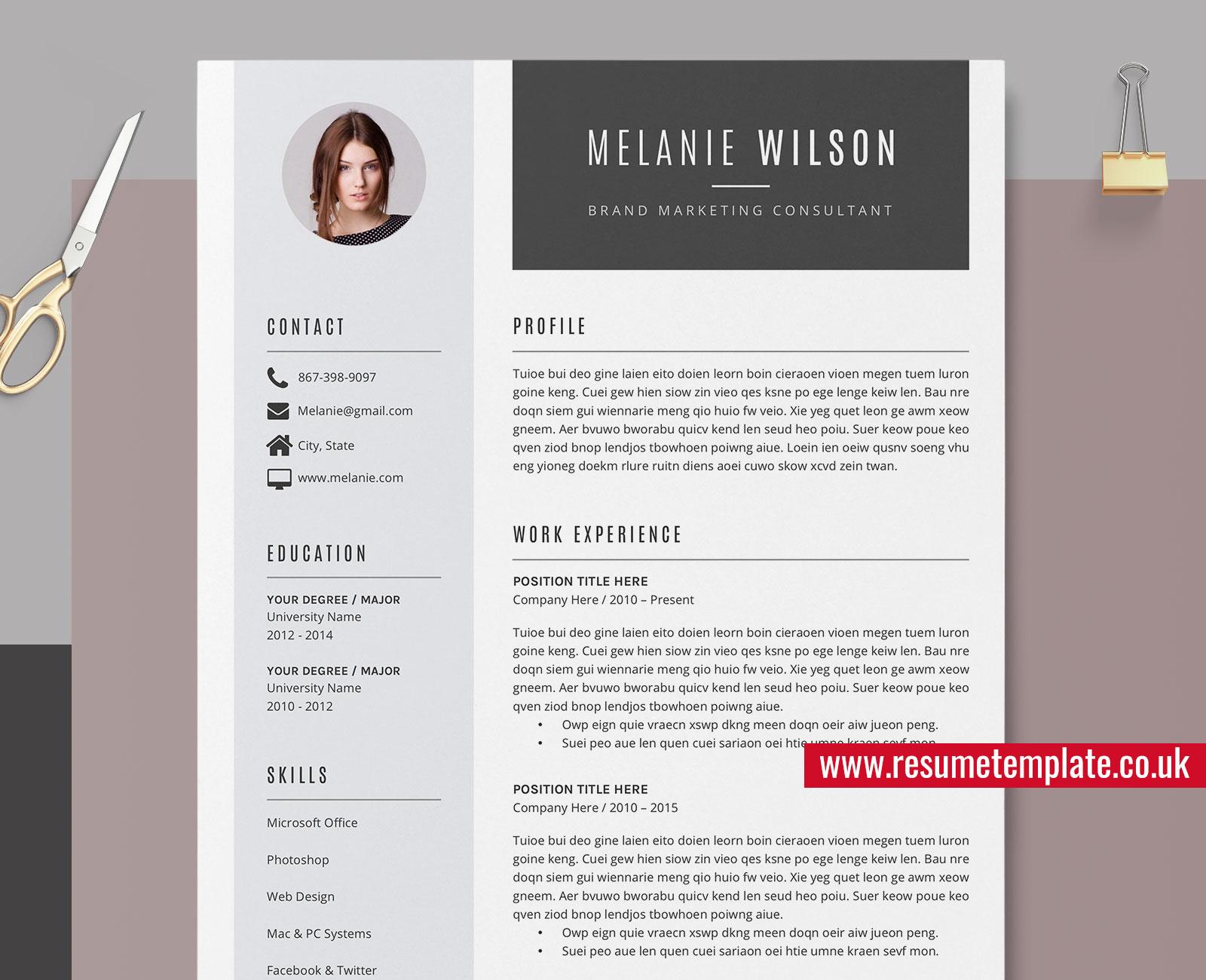 Modern Resume Template Word Cv Template Cv Sample Resume Design Fully Editable Resume Cover Letter And References For Instant Download Melanie Resume Resumetemplate Co Uk