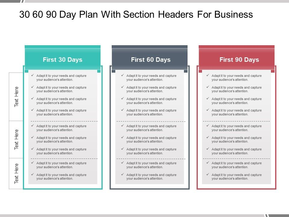 30 60 90 Day Plan With Section Headers For Business Powerpoint Guide Presentation Powerpoint Images Example Of Ppt Presentation Ppt Slide Layouts