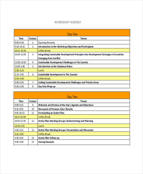 Free 12 Workshop Agenda Examples Samples In Pdf Doc Examples