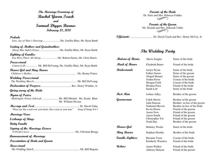 Wedding Program Template In Word And Pdf Formats