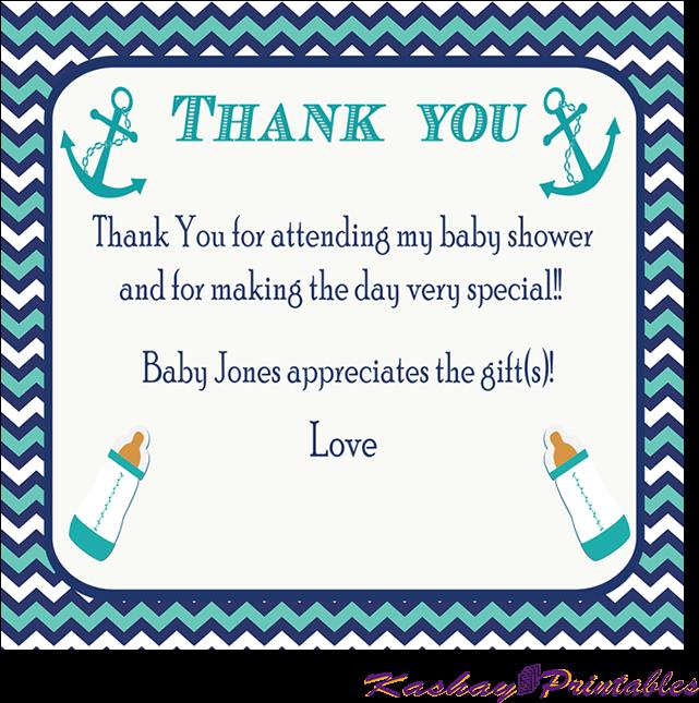 Nautical Baby Shower Thank You Card Kashay Printables Baby Shower Thank You Cards Templates Transparent Cartoon Jing Fm