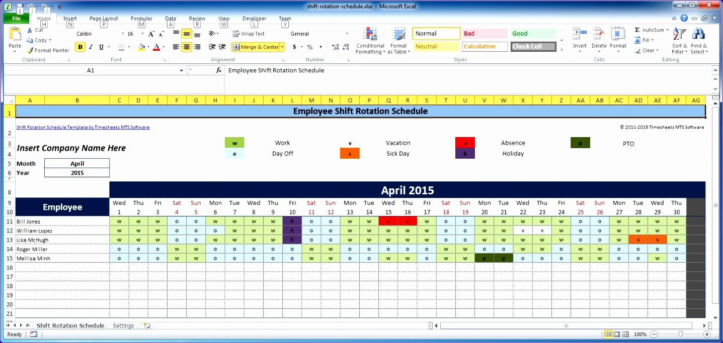 8 Monthly Employee Work Schedule Template Excel - Excel ...